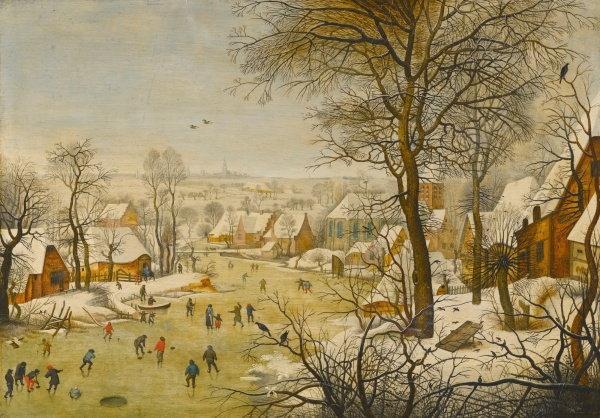 Lot 10. PIETER BRUEGHEL THE YOUNGER BRUSSELS 1564 - 1637/8 ANTWERP WINTER LANDSCAPE WITH A BIRD TRAP signed and dated lower right: P . BREVGHEL 1626 . Oil on oak panel 40.4 by 57.2 cm.; 15 7/8  by 22 1/2  in. Estimate: 1-1.5 million. Click on image to enlarge.