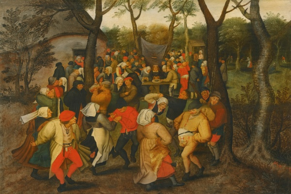 Lot 12. PIETER BRUEGHEL THE YOUNGER BRUSSELS 1564 - 1637/8 ANTWERP THE OUTDOOR WEDDING DANCE Oil on oak panel 41.6 by 62 cm.; 16 3/8  by 24 3/8  in. Estimate: 1-1.5 million. Click on image to enlarge.