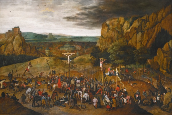 Lot 13. PIETER BRUEGHEL THE YOUNGER BRUSSELS 1564 - 1637/8 ANTWERP CALVARY signed and dated lower left: P . BRVEGHEL .1615 . oil on oak panel 99.9 by 147.5 cm.; 39 3/8  by 58 in. Estimate: 3-4 million. Click on image to enlarge.