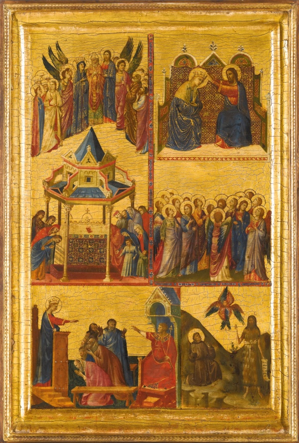 Lot 17. GIOVANNI DA RIMINI DOCUMENTED 1292 - 1309/14 LEFT WING OF A DIPTYCH WITH EPISODES FROM THE LIVES OF THE VIRGIN AND OTHER SAINTS: THE APOTHEOSIS OF AUGUSTINE; THE CORONATION OF THE VIRGIN; CATHERINE DISPUTING WITH THE PHILOSOPHERS; FRANCIS RECEIVING THE STIGMATA; AND JOHN THE BAPTIST IN THE WILDERNESS tempera on panel, gold ground, in an engaged frame 52.5 by 34.3 cm.; 20 5/8  by 13 1/2  in. Estimate: 2-3 million. Click on image to enlarge.