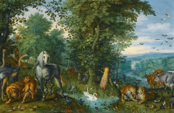 Lot 19. JAN BRUEGHEL THE ELDER BRUSSELS 1568 - 1625 ANTWERP THE GARDEN OF EDEN WITH THE FALL OF MAN signed and dated lower left.: ...EGHEL 1613 oil on copper 23.7 by 36.8 cm.; 9 1/2  by 14 1/2  in. Estimate: 2-3 million. Click on image to enlarge.
