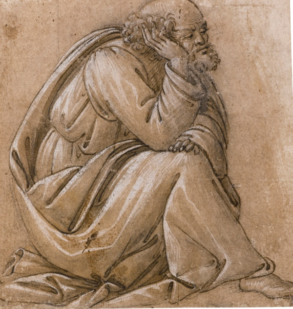 Lot 27. SANDRO BOTTICELLI FLORENCE 1444/5 - 1510 STUDY FOR A SEATED ST JOSEPH, HIS HEAD RESTING ON HIS RIGHT HAND Pen and brown ink heightened with white over black chalk, on beige-pink washed paper. Squared in black chalk for transfer; bears attribution in pencil at the bottom: Giotto 129 by 124 mm. Estimate: 1-1.5 million. Click on image to enlarge.