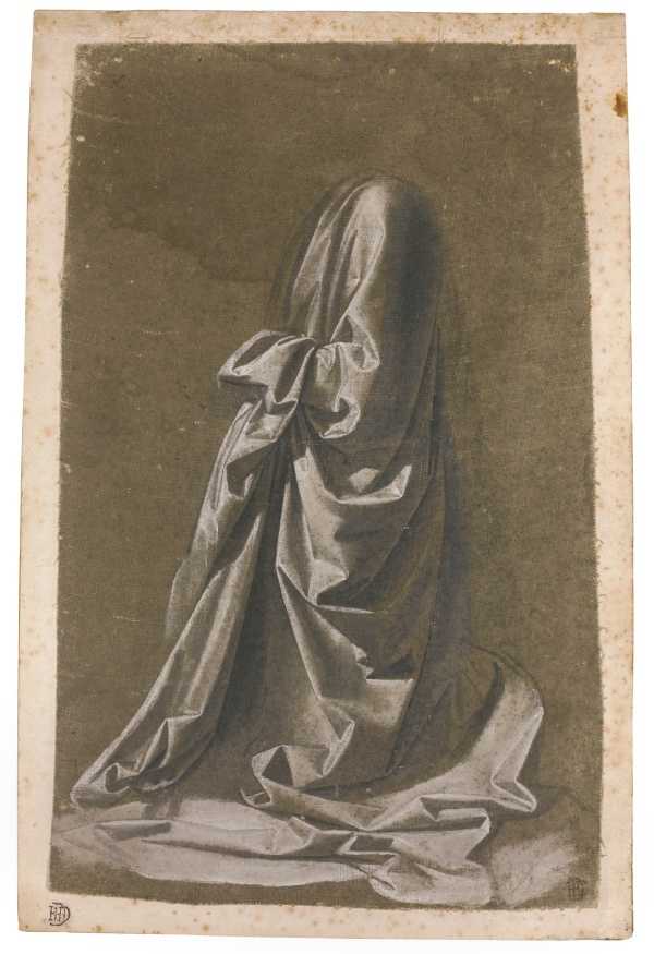 Lot 28. WORKSHOP OF ANDREA DEL VERROCCHIO, CIRCA 1470, TRADITIONALLY ATTRIBUTED TO LEONARDO DA VINCI DRAPERY STUDY OF A KNEELING FIGURE FACING LEFT Drawn with the brush in brown-grey wash, heightened with white, on linen prepared grey-green, laid down on paper; Numbered in brown ink: X 288 by 181 mm. Estimate: 1.5-2 million. Click on image to enlarge.