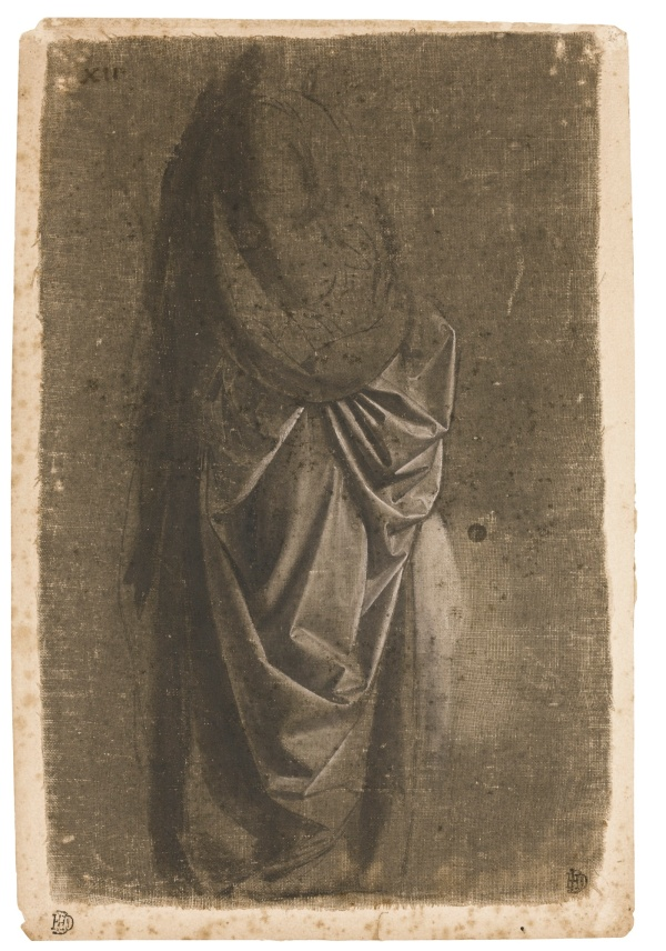 Lot 29. WORKSHOP OF ANDREA DEL VERROCCHIO, CIRCA 1470, TRADITIONALLY ATTRIBUTED TO LEONARDO DA VINCI DRAPERY STUDY OF A STANDING FIGURE FACING RIGHT, IN PROFILE Drawn with the brush in brown-grey wash, heightened with white, on linen prepared grey-green, laid down on paper; Numbered in brown ink: XII 282 by 181 mm. Estimate: 1.5-2 million. Click on image to enlarge.