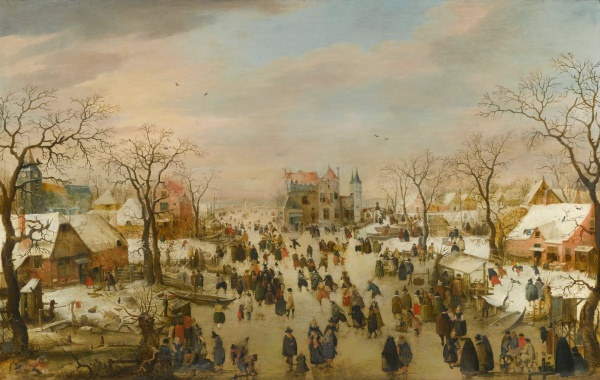 Lot 4. HENDRICK AVERCAMP AMSTERDAM 1585 - 1634 KAMPEN A PANORAMIC WINTER LANDSCAPE WITH A MULTITUDE OF FIGURES ON A FROZEN RIVER oil on oak panel current dimensions: 69.2 by 109 cm.; 27 by 43 in. original dimensions: circa 55 by 109 cm. Estimate: 1-1.5 million. Click on image to enlarge.