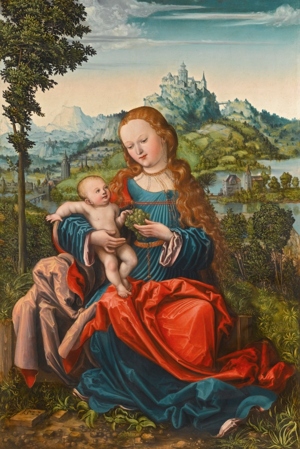Lot 54. THE MASTER OF THE PIASECKA JOHNSON MADONNA ACTIVE IN GERMANY CIRCA 1522 THE VIRGIN AND CHILD ON A GRASSY BANK inscribed in monogram: E or (LC?) and dated lower left: 1522 oil on panel 86 by 58.5 cm.; 33 7/8  by 23 in. Estimate: 600,000-800,000. Click on image to enlarge.