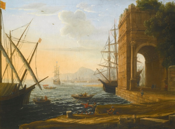 Lot 59. CLAUDE GELLÉE, CALLED CLAUDE LORRAIN CHAMAGNE, LORRAINE 1604/5 - 1682 ROME A MEDITERRANEAN SEAPORT oil on canvas 74.3 by 99 cm.; 29 1/4  by 39 in. Estimate: 400,000-600,000. Click on image to enlarge.