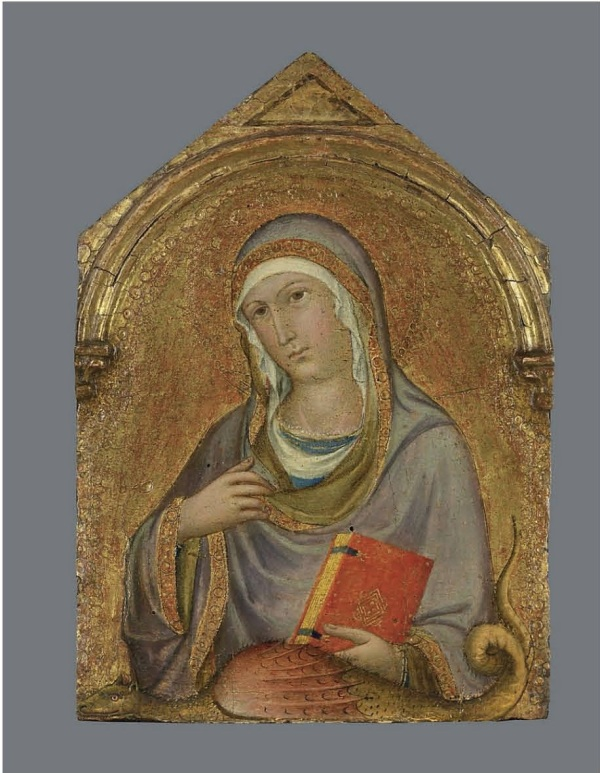 Lot 1. Sano di Pietro (Siena 1405-1481)  Saint Margaret on gold ground panel, shaped top 13 x 8¾ in. (33 x 22.3 cm.) Estimate: £60,000 – £80,000 ($102,540 - $136,720). Click on image to enlarge.