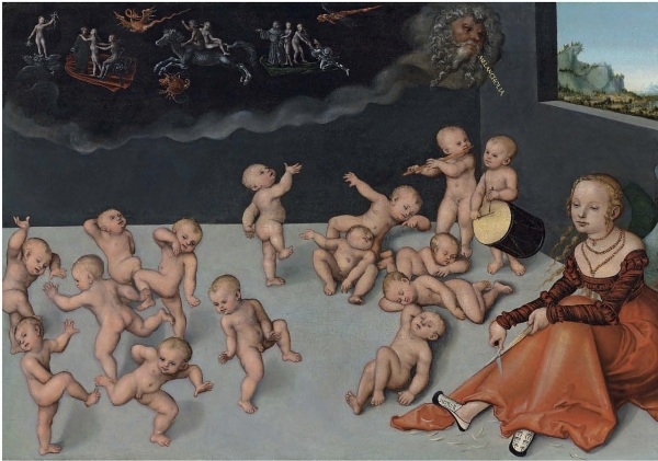 Lot 11. Lucas Cranach I (Kronach 1472-1553 Weimar) Melancholia inscribed 'MELANCHOLIA' (upper right)  oil on panel 20 5/8 x 29 1/8 in. (52.4 x 74 cm.)  Estimate: £500,000 – £800,000 ($854,500 - $1,367,200). Click on image to enlarge.
