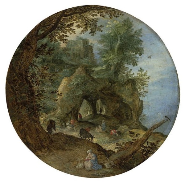 Lot 12 (one of two). Jan Breughel I (Brussels 1568-1625 Antwerp) A rocky landscape with the Rest on the Flight into Egypt; and A wooded landscape with the Temptation of Christ the former signed and dated '?BRVEGHEL ? 1598 ? ' (lower centre); the latter signed and dated '? BRVEGHEL ? / 1598' (lower right, on the rock)  oil on panel, circular 8½ (21.6 cm.) diameter Estimate: £500,000 – £800,000 ($854,500 - $1,367,200). Click on image to enlarge.