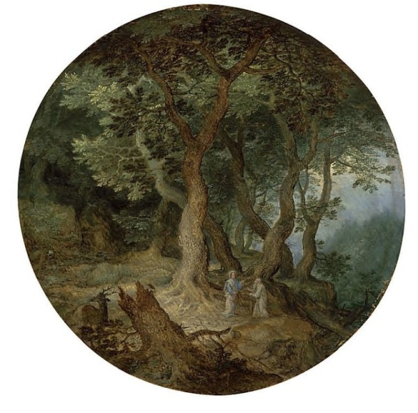 Lot 12 (two of two). Jan Breughel I (Brussels 1568-1625 Antwerp) A rocky landscape with the Rest on the Flight into Egypt; and A wooded landscape with the Temptation of Christ the former signed and dated '?BRVEGHEL ? 1598 ? ' (lower centre); the latter signed and dated '? BRVEGHEL ? / 1598' (lower right, on the rock) oil on panel, circular: 8½ (21.6 cm.) diameter Estimate: £500,000 – £800,000 ($854,500 - $1,367,200). Click on image to enlarge.