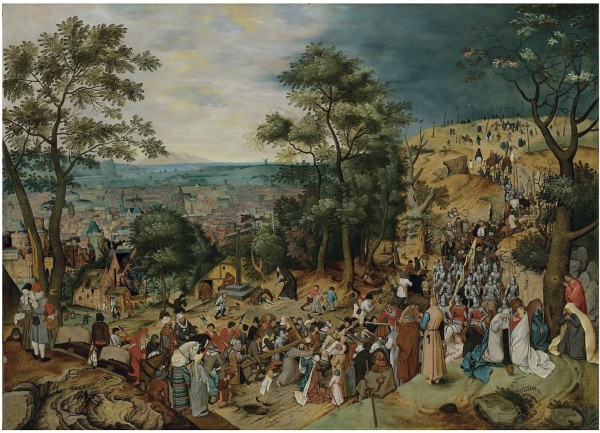 Lot 13. Pieter Brueghel II (Brussels 1564/5-1637/8 Antwerp)  The Road to Calvary  signed and dated 'P• BRVEGHEL• 1607' (lower left)  oil on panel 48 x 67 in. (122 x 170.3 cm.)  Estimate: £5-7 million ($8,570,000 - $11,998,000). Click on image to enlarge.