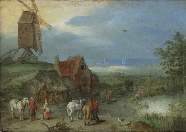 Lot 15. Jan Breughel I (Brussels 1568-1625 Antwerp)  Landscape with a windmill, figures and horses by a farmstead with signature and date 'BRUGHEL 1606[?]' (lower left) oil on copper, stamped on the reverse with the maker's mark of Pieter Stas (active in Antwerp c. 1587-1610)  4 5/8 x 6 5/8 in. (11.8 x 16.7 cm.) Estimate: £250,000-350,000 ($428,500-599,900). Click on image to enlarge.
