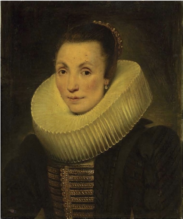 Lot 16. Cornelis de Vos (Hulst c. 1584-1651 Antwerp) Portrait of a lady, half-length, in a black dress with gold embroidery and a ruff oil on canvas, unlined 22 7/8 x 19 1/8 in. (58.1 x 48.5 cm.) Estimate: £250,000-350,000 ($428,500-599,900). Click on image to enlarge.