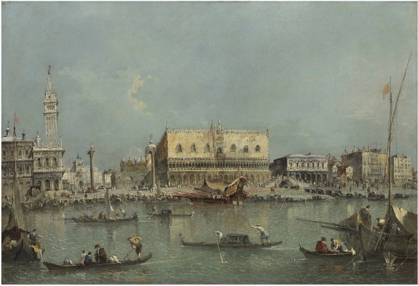 "Lot 19. Francesco Guardi (1712-1793) Venice, the Bacino di San Marco with the Piazzetta and the Doge""s Palace Oil on canvas 27 3⁄8 x 40 1⁄8 in. (69.5 x 102 cm.) Estimate: £8-10 million/ $13-16.5 million / €9.5-12 million (click on image to enlarge)"
