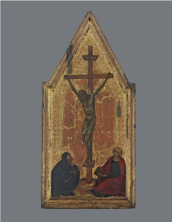 Lot 2. Attributed to Francesco di Vannuccio (active Siena, c.1356–1389)  The right wing of a diptych: The Crucifixion  the reverse retaining the original gesso  on gold ground panel, shaped top, in an engaged frame 18 1/8 x 8 5/8 in. (46.4 x 21.9 cm.) Estimate: £80,000 – £120,000 ($136,720 - $205,080). Click on image to enlarge.