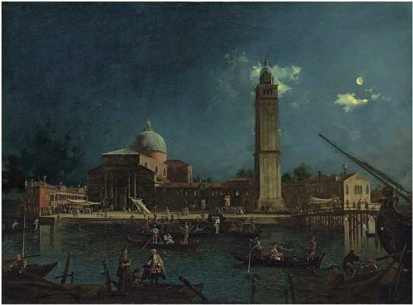 Lot 21. Giovanni Anton Canal, il Canaletto (Venice 1697-1768) A night festival at San Pietro di Castello, Venice oil on canvas 35½ x 58½ in. (97.7 x 130.3 cm.) Estimate: £3-4 million ($5,142,000-6,856,000). Click on image to enlarge.