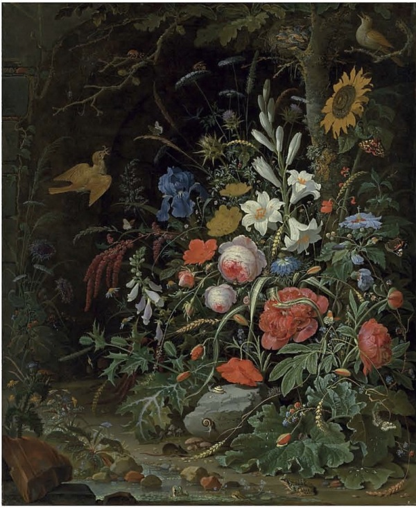 Lot 24. Abraham Mignon (Frankfurt am Main 1640-1679 Utrecht)  Peonies, lilies, roses, poppies, a sunflower and other flowers on a forest floor, with insects, snails, mice and frogs  signed 'AB. Mignon: fec' ('AB' linked, lower centre, on the rock)  oil on canvas  39¾ x 33 in. (101 x 83.8 cm.)  Estimate: £700,000-1,000,000 ($1,199,800-1,714,000). Click on image to enlarge.
