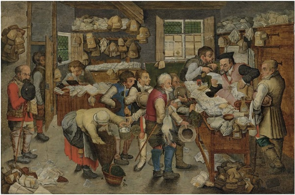 Lot 28. Pieter Brueghel II (Brussels 1564/5-1637/8 Antwerp)  The Payment of the Tithes  signed and dated '•P• BREVGHEL• 1618•' (lower left)  oil on panel 23¼ x 34¼ in. (59 x 86.9 cm.)  Estimate: £700,000-1,000,000 ($1,199,800-1,714,000). Click on image to enlarge.