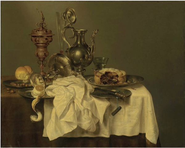 Lot 31. Willem Claesz. Heda (Haarlem 1594-1680) A blackberry pie on a pewter platter, a silver-gilded cup and cover, an upturned tazza, a partly-peeled lemon, a bread roll, hazelnuts, a façon-de-Venise glass, a silver decanter, a roemer, and a knife on a pewter platter, on a partly draped table signed and dated 'HEDA •1644•' (lower centre, on the edge of the tablecloth)  oil on panel 31 7/8 x 39 7/8 in. (80.6 x 101.5 cm.) with a red wax seal with monogram on the reverse  Estimate: £1.5-2.5 million ($2,571,000-4,285,000). Click on image to enlarge.