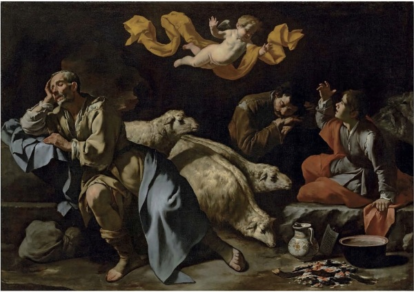 Lot 36. The Master of the Annunciation to the Shepherds (active in Naples, first half of the 17th century) The Annunciation to the Shepherds oil on canvas 50 x 71 in. (127 x 180.3 cm.) Estimate: £1-1.5 million ($1,714,000-2,571,000). Click on image to enlarge.