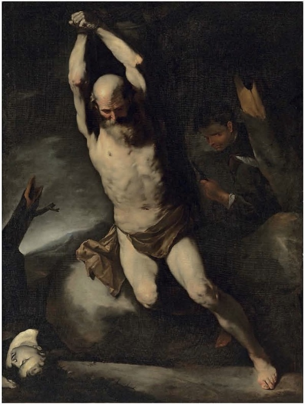 Lot 38. Luca Giordano, called Fa Presto (Naples 1634-1705)  The Martyrdom of Saint Bartholomew oil on canvas 80½ x 60 7/8 in. (204.6 x 154.6 cm.) Estimate: £800,000-1,200,000 ($1,371,200-2,056,800). Click on image to enlarge.