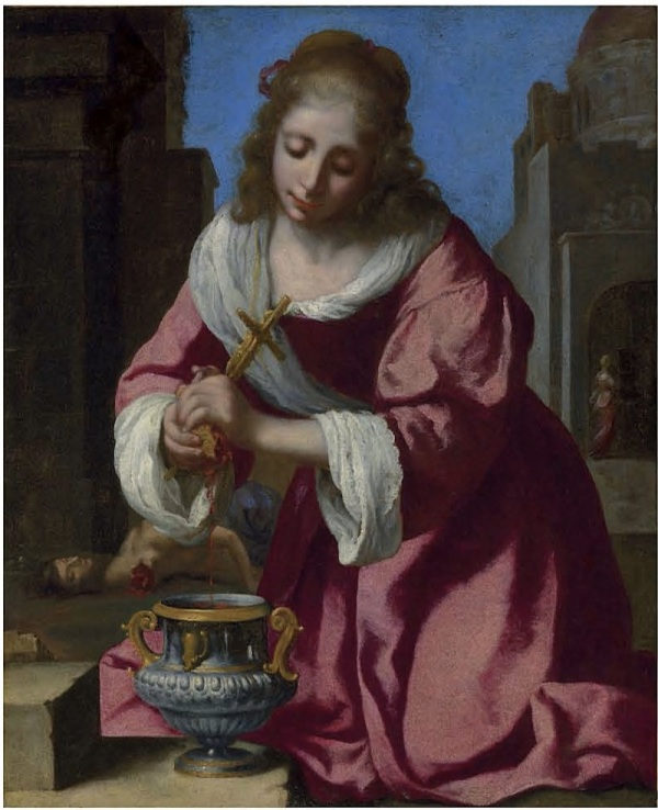 Lot 39. Johannes Vermeer (Delft 1632-1675)  Saint Praxedis  signed and dated 'Meer 1655' (lower left) oil on canvas 40 x 32½ in. (101.6 x 82 cm.)  Estimate: £6-8 million ($10,284,000-13,712,000). Click on image to enlarge.