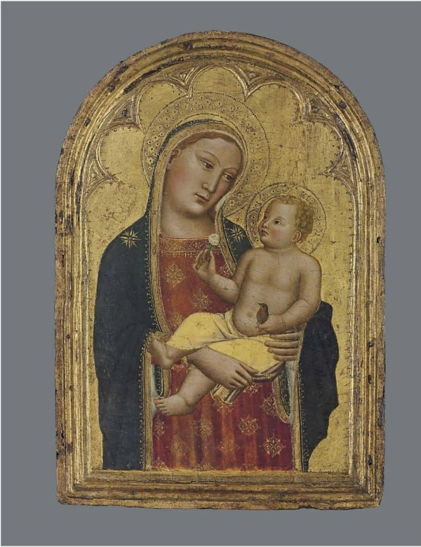 Lot 5. Niccolò di Pietro Gerini (Florence, active 1366?-c. 1414\5)  The Madonna and Child with a goldfinch on gold ground panel, shaped top, in an integral frame  22½ x 15½ in. (57 x 39.4 cm.) Estimate: £150,000 – £250,000 ($256,350 - $427,250). Click on image to enlarge.