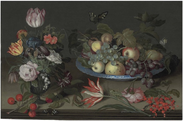 Lot 58. Johannes Bosschaert (Middelburg c. 1606/8-1628/9 Dordrecht) Parrot tulips, an iris, snowbells, and other flowers in a glass vase, with apples, grapes and other fruit in a wan-li kaak dish, gooseberries, cherries, a lizard and insects on a wooden ledge signed with initials and dated '•I•B•1626•' (lower right)  oil on panel 16 ½ x 25 in. (41.9 x 63.5 cm.) Estimate: £500,000-800,000 ($857,000-1,371,200). Click on image to enlarge.