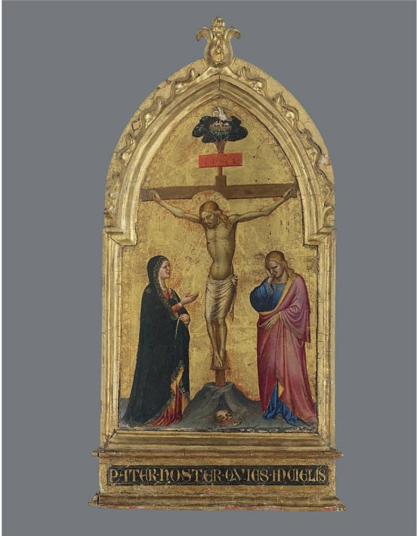 Lot 6. The Master of the Misericordia (Florence, active mid-14th Century)  The Crucifixion with the Madonna and Saint John the Evangelist on gold ground panel, shaped top, in an engaged frame 23 7/8 x 12¼ in. (60.6 x 31 cm.) inscribed 'PATER•NOSTER•QVIES•INCIELIS' (lower centre, on the frame) and with inventory number '12' (on the reverse)  Estimate: £400,000 – £600,000 ($683,600 - $1,025,400). Click on image to enlarge.