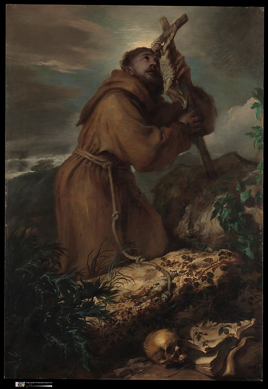 Saint Francis in Ecstasy Giovanni Benedetto Castiglione (Il Grechetto)  (Italian, Genoa 1609–1664 Mantua) Date: ca. 1650 Medium: Oil on canvas Dimensions: 77 × 53 1/4 in. (195.6 × 135.3 cm) Classification: Paintings Credit Line: Purchase, Lila Acheson Wallace Gift; Gwynne Andrews Fund; and Gift in memory of Felix M. Warburg from his wife and children, Bequest and Gift of George Blumenthal, Bequests of Theodore M. Davis, Adele L. Lehman, in memory of Arthur Lehman, Helen Hay Whitney, Jean Fowles, in memory of her first husband, R. Langton Douglas, and Gifts of Coudert Brothers and Harry Payne Bingham Jr., by exchange, 2014 Accession Number: 2014.270