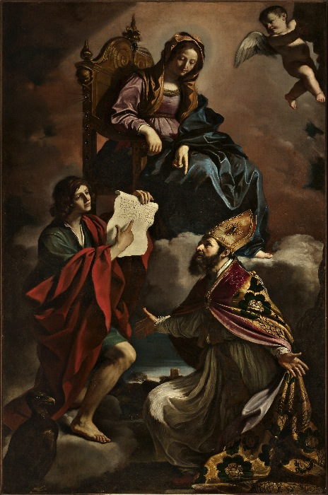 Giovanni Francesco Barbieri, dit Le Guerchin (1591-1666) the Virgin and St. John the Evangelist and St. Gregory Wonderworker, 1639 Oil on canvas: 293 x 184,5 cm Stolen August 2014 form the Church of San Vincenzo in Modena, Italy.