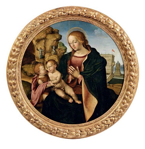 Girolamo del Pacchia,  1477 Siena - c. 1530, attributed  VIRGIN WITH THE CHILD AND SAINT JOHN THE BAPTIST, WITH SAINT FRANCIS WHO RECEIVES THE STIGMATA IN THE BACKGROUND  Oil on panel.  Tondo diameter: 88.7 cm. Estimate: € 120.000 - 150.000
