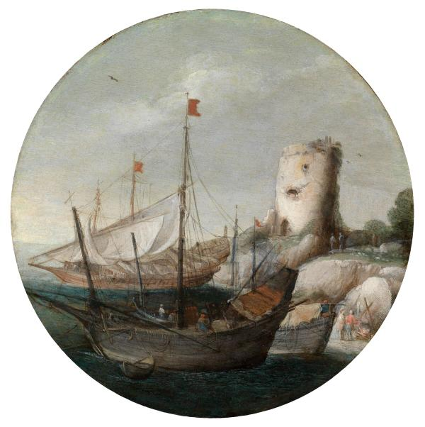 Lot No. 15 - Goffredo Wals (Cologne 1590/95–1638/40 Calabria)  Ships landing in a port, oil on panel, diameter 21 cm, framed Estimate: €15,000-20,000 Click on image to enlarge