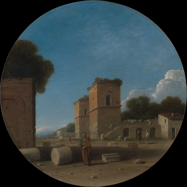 Goffredo Wals  (German, Cologne, born ca. 1590–95, died 1638–40 Calabria) A Roman Landscape with Figures Goffredo Wals  Date: probably 1630s Medium: Oil on copper Dimensions: Diameter 16 in. (40.6 cm) Credit Line: Wrightsman Fund, 1997 Accession Number: 1997.157 Metropolitan Museum of Art