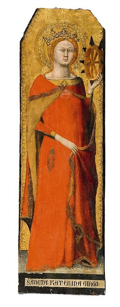 Lot 1007. Matteo Giovannetti documented in Viterbo and Avignon 1322 - 1369 Catherine of Alexandria Tempera on panel.. Each 64 x 17 cm. Estimate: €700,000-800,000.  (this is one of a pair of paintings)
