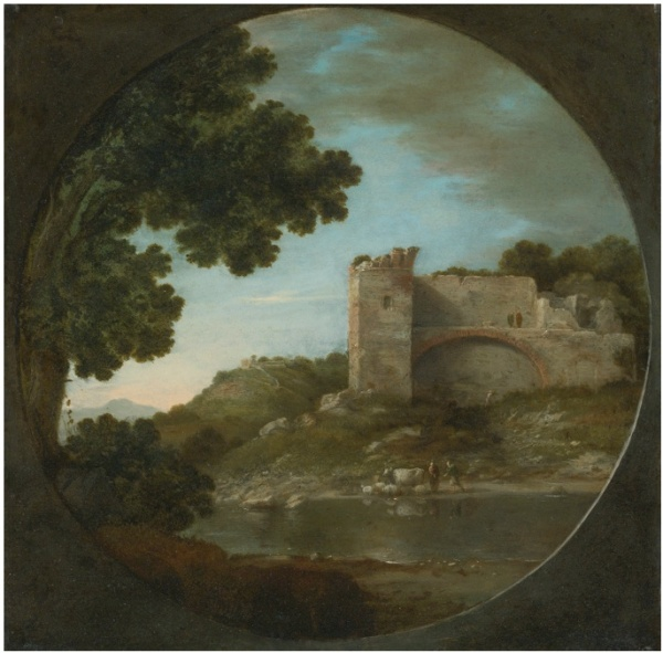 GOTTFRIED WALS, CALLED GOFFREDO TEDESCO COLOGNE 1590/95 - 1638/40 NAPLES AN ITALIANATE RIVER LANDSCAPE WITH SHEPHERDS WATERING THEIR FLOCK BENEATH A RUIN oil on copper, in a painted tondo 11 1/2  by 11 3/4  in.; 29.5 by 29.7 cm Estimate: $80,000-120,000. This lot failed to sell.