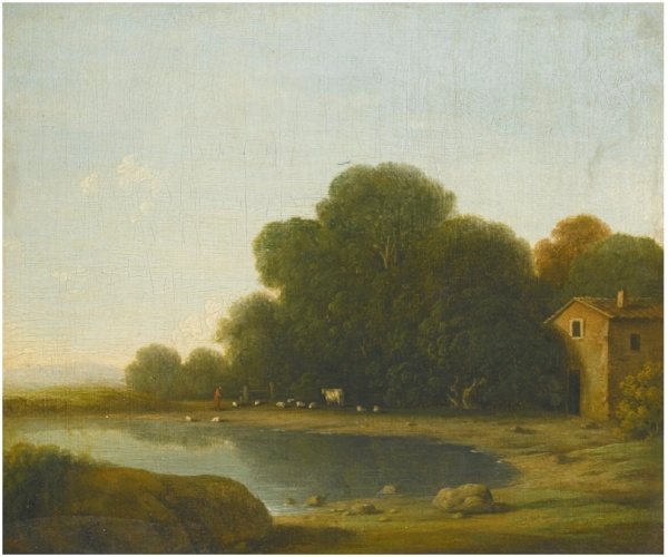 GOTTFRIED WALS, CALLED GOFFREDO TEDESCO COLOGNE 1590/95 - 1638/40 NAPLES LANDSCAPE WITH A HERDSMAN WATERING HIS ANIMALS ON THE SHORE OF A LAKE, A FARMHOUSE ON THE RIGHT inscribed with inventory number on the reverse: 120 oil on paper transferred to canvas 19.5 by 22.5 cm.; 7 5/8  by 8 7/8  in. Estimate: £25,000-35,000. This lot sold for £89,500 inclusive of the buyer's premium.