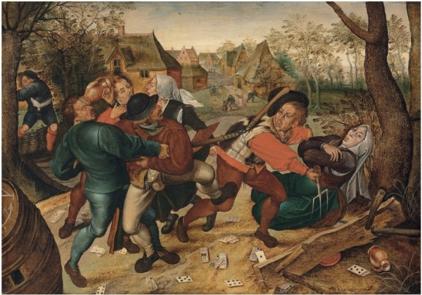 Lot 10. Pieter Brueghel II (Brussels 1564/5-1637/8 Antwerp) A country brawl signed and dated '•P•BRVEGHEL•1610' (lower right) oil on panel 15½ x 22½ in. (39 x 57 cm.) Estimate: £700,000-1,000,000 ($1,094,800 - $1,564,000). Click on image to enlarge.