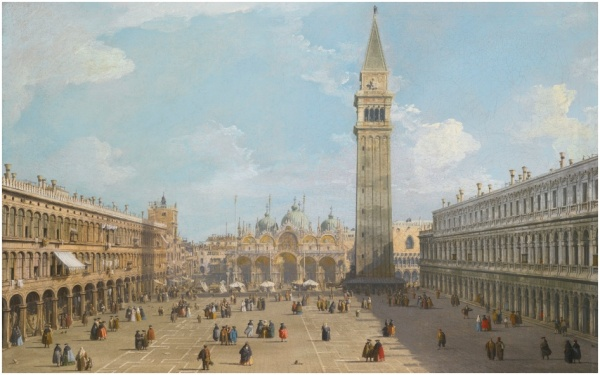 Lot 11. GIOVANNI ANTONIO CANAL, CALLED CANALETTO VENICE 1697 - 1768 VENICE, THE PIAZZA SAN MARCO LOOKING EAST TOWARDS THE BASILICA oil on canvas, with an unidentified brushed inventory number 16 on the stretcher 58.5 by 92 cm.; 23 by 36 1/4  in. Estimate: 5-7 million. Click on image to enlarge.