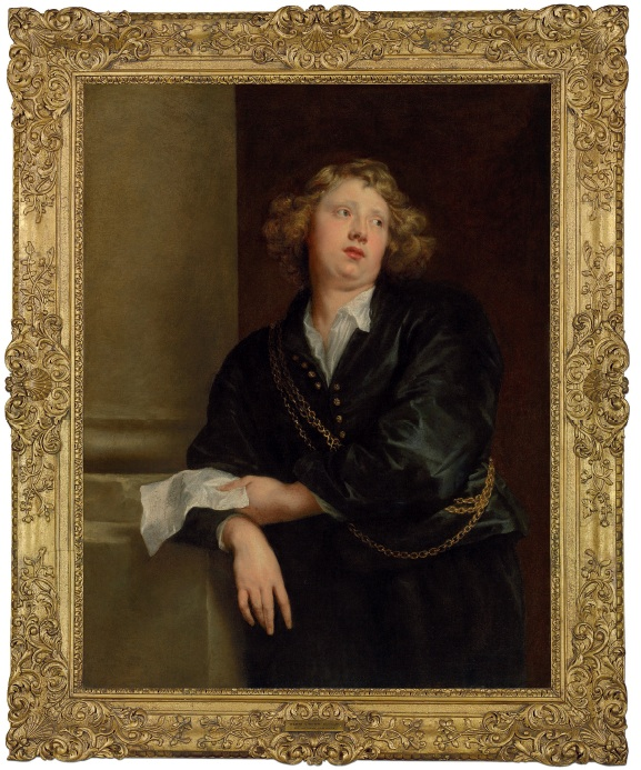Lot 13. Sir Anthony van Dyck (Antwerp 1599-1641 London) Portrait of Hendrick Liberti (c. 1600-1669), half-length, in black, with three gold chains, holding a sheet of music, by a column oil on canvas 45 x 34¾ in. (114.3 x 88.3 cm.) Estimate: £2.5-3.5 million.