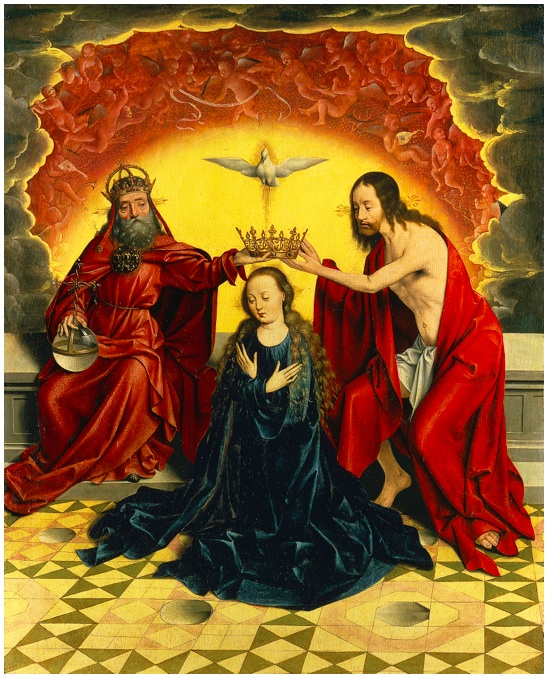 Lot 14. BARTHOLOMÄUS BRUYN THE ELDER WESEL OR COLOGNE 1493 - 1555 COLOGNE THE CORONATION OF THE VIRGIN oil on oak panel 87.4 by 70.5 cm; 34 3/8  by 27 3/4  in. Estimate: 600,000-800,000.
