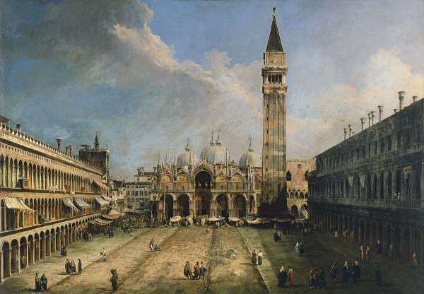 Canaletto La piazza San Marco in Venice ca. 1723-24 Oil on canvas 141.5 x 204.5 cm Museo Thyssen-Bornemisza, Madrid INV. Nr. 75 (1956.1) Click on image to enlarge.