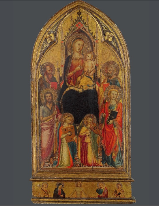 Lot 2. The Master of the Misericordia (active Florence, second half of the 14th Century) The Madonna and Child enthroned, with Saints John the Baptist, Paul, Peter and Thomas, and musical angels; the predella: Christ as the Man of Sorrows, flanked by the Virgin Mary, Saint John the Evangelist and two female martyr saints on gold ground panel, in an integral frame 34½ x 17 in. (87.7 x 43 cm.) Estimate: £150,000-250,000.