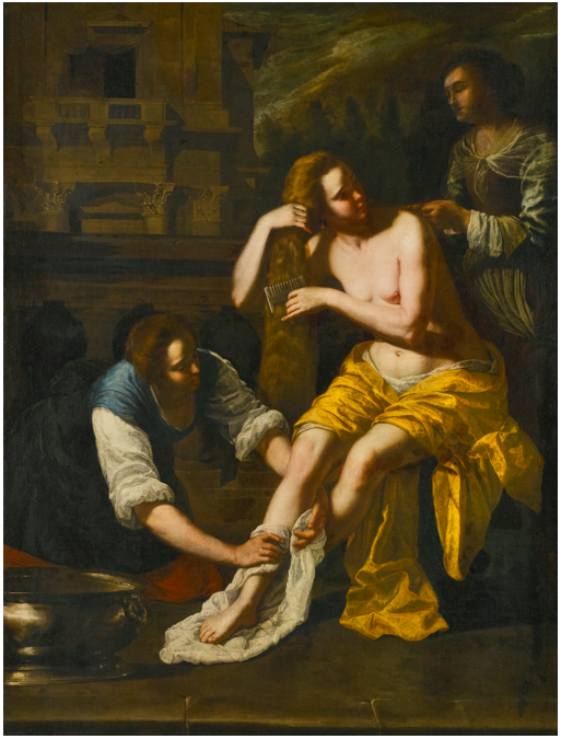Lot 20. ARTEMISIA GENTILESCHI ROME 1593 - 1654 NAPLES BATHSHEBA AT HER BATH oil on canvas 204.5 by 155.5 cm.; 80 1/2  by 61 1/4  in. Estimate: 200,000-300,000.
