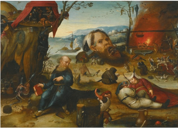 Lot 23. FOLLOWER OF HIERONYMOUS BOSCH THE TEMPTATION OF SAINT ANTHONY oil on oak panel 41.8 by 57 cm.; 16 1/2  by 22 3/8  in. Estimate: 30,000-40,000. Click on image to enlarge.