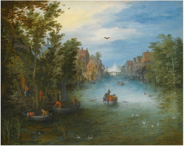 Lot 27. JAN BRUEGHEL THE ELDER BRUSSELS 1568 - 1625 ANTWERP A RIVER RUNNING THROUGH A SMALL TOWN, WITH A CATTLE FERRY ON THE WATER AND ROWING BOATS SETTING OFF FROM THE LEFT BANK signed lower right: BRVEGHEL oil on copper 18.3 by 22.9 cm.; 7 1/4  by 9 in. Estimate: 300,000-400,000. Click on image to enlarge.