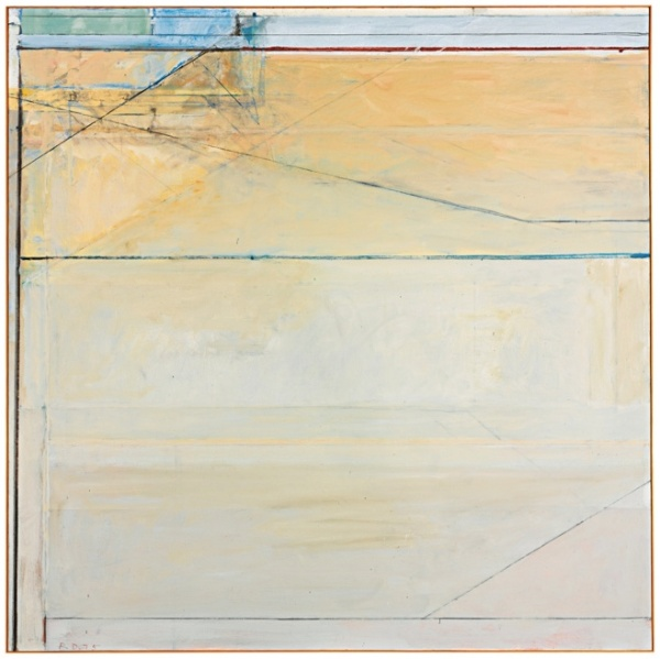 Lot 11. RICHARD DIEBENKORN 1922 - 1993 OCEAN PARK #89 signed with initials and dated 75; signed, titled and dated 1975 on the reverse oil on canvas 81 by 81 in. 205.7 by 205.7 cm. Executed in 1975, this work will be included in the forthcoming Richard Diebenkorn Catalogue Raisonné under number 4204 (estate number RD 1505). Estimate: $8-12 million.