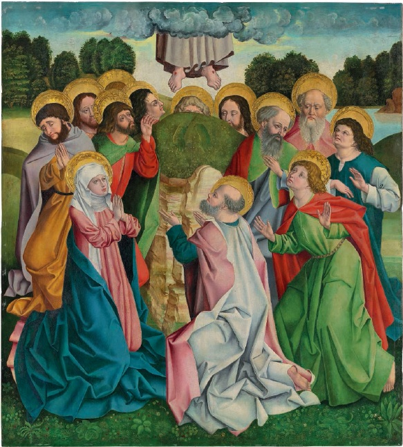 The Master of Attel (active Landshut, 1474-1505) Panels from an altarpiece: The Ascension; and Pentecost oil on panel 46½ x 50½ in. (118.4 x 128.3 cm.) Second of two panels.