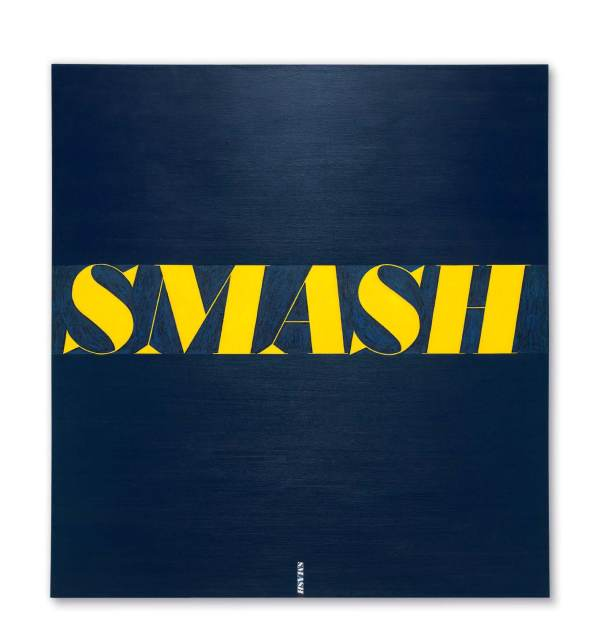 Lot 30. Ed Ruscha (b. 1937) Smash signed and dated '3 / 1963 E. RUSCHA' (on the stretcher) oil on canvas 71 3/4 x 67 in. (182.2 x 170.1 cm.) Painted in 1963. Estimate: $15-20 million. Click on image to enlarge.